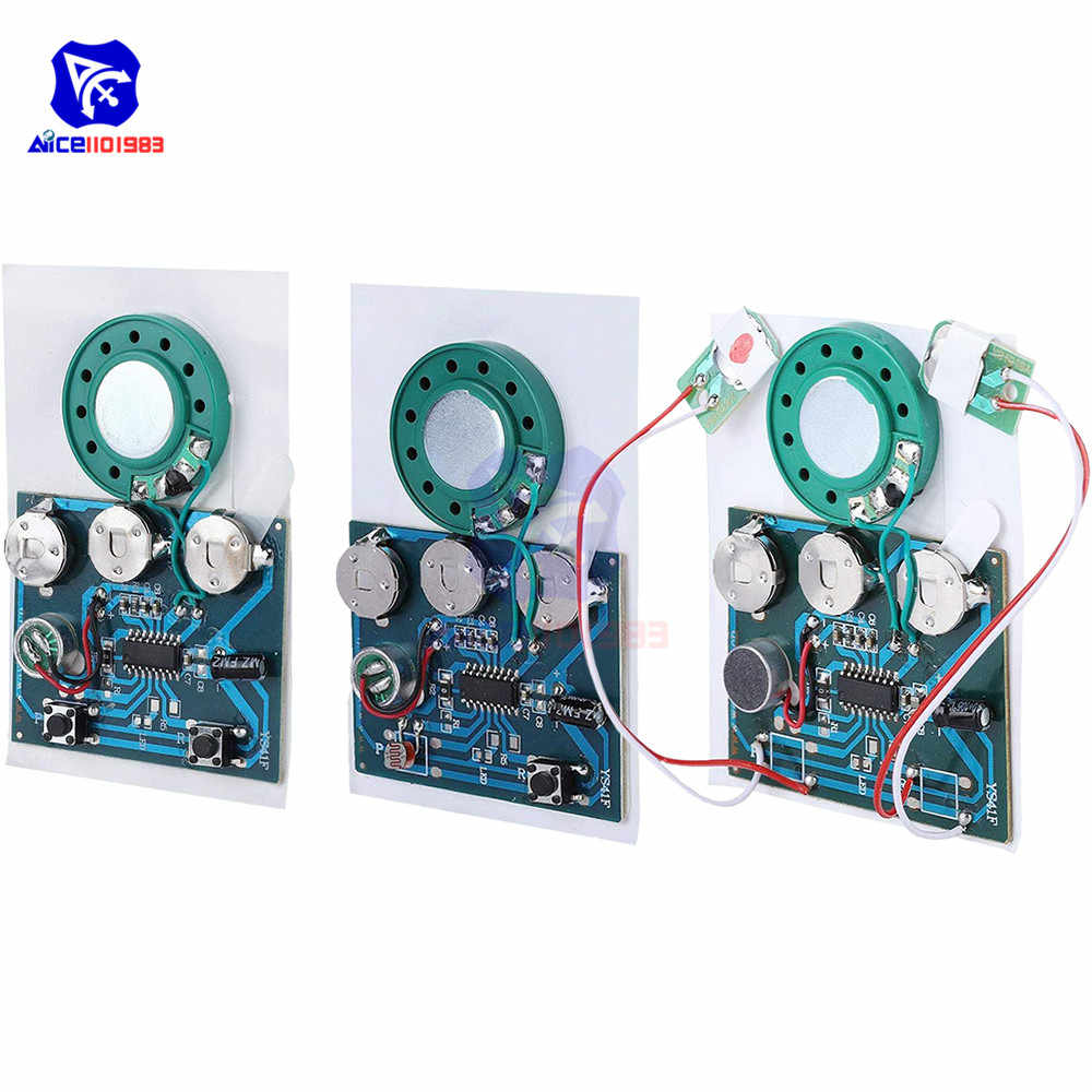 diymore 30s Audio Voice Recording Playback Module Button/Light Sensitive/Button with Extension Cord for Greeting Card