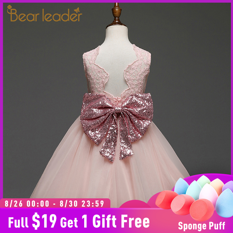 Bear Leader Girls Dresses 2019 New Brand Princess Girls Clothes Bowknot Sleeveless Party