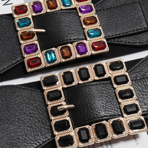 Image 5 - Fashion Colorful Rhinestone Square Buckle Belts for women Punk Leather Elastic Wide off belt for Dress Waistband Accessories