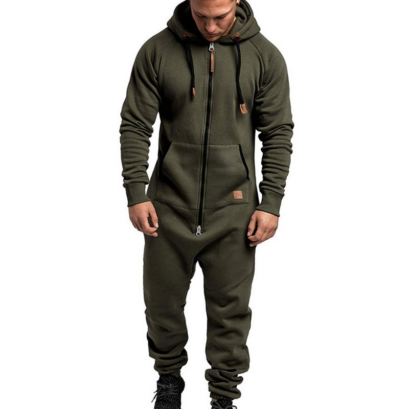 CYSINCOS Men's Suit Jumpsuit Garment Pyjama Winter Men Splicing Hoodie Sweatshirt Sets Loose Zipper Overalls Hombre Tracksuits