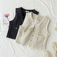Weaving Tassel Pocket Vest Women Clothes 2019 Fashion Vintage Plaid V Neck Single Breasted Elegant Coat Vest Top недорого