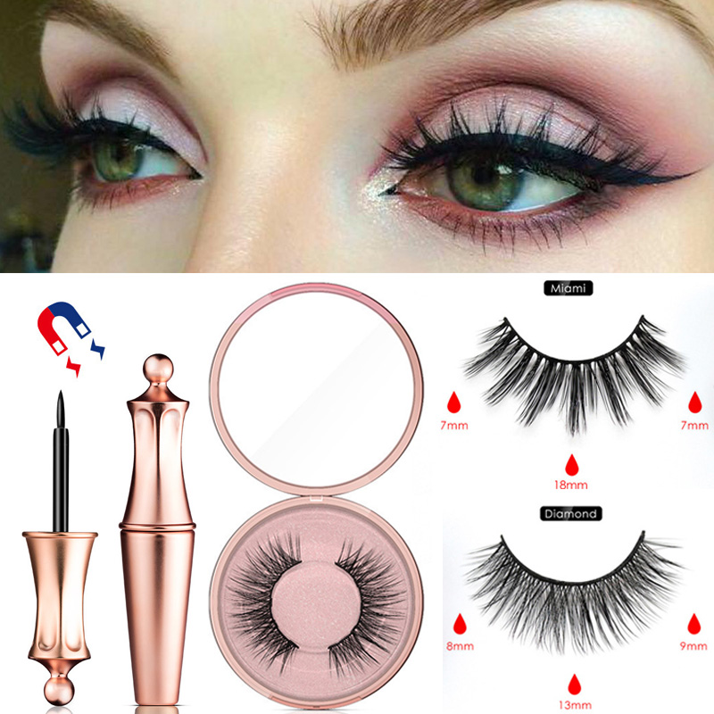 1 Pair Magnetic False Eyelashes Waterproof Magnetic Eyeliner Easy To Operate NO Glue Magnetic Lashes Extension Makeup Supplies