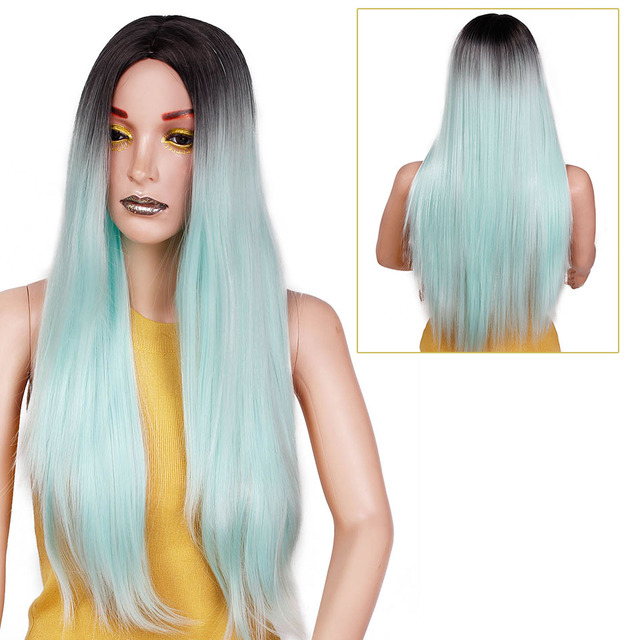 Ombre Green Straight Long Synthetic Wigs For Women  Black Pink Wigs 24 inch 9 Color can be Cosplay Wigs I's a wig 1