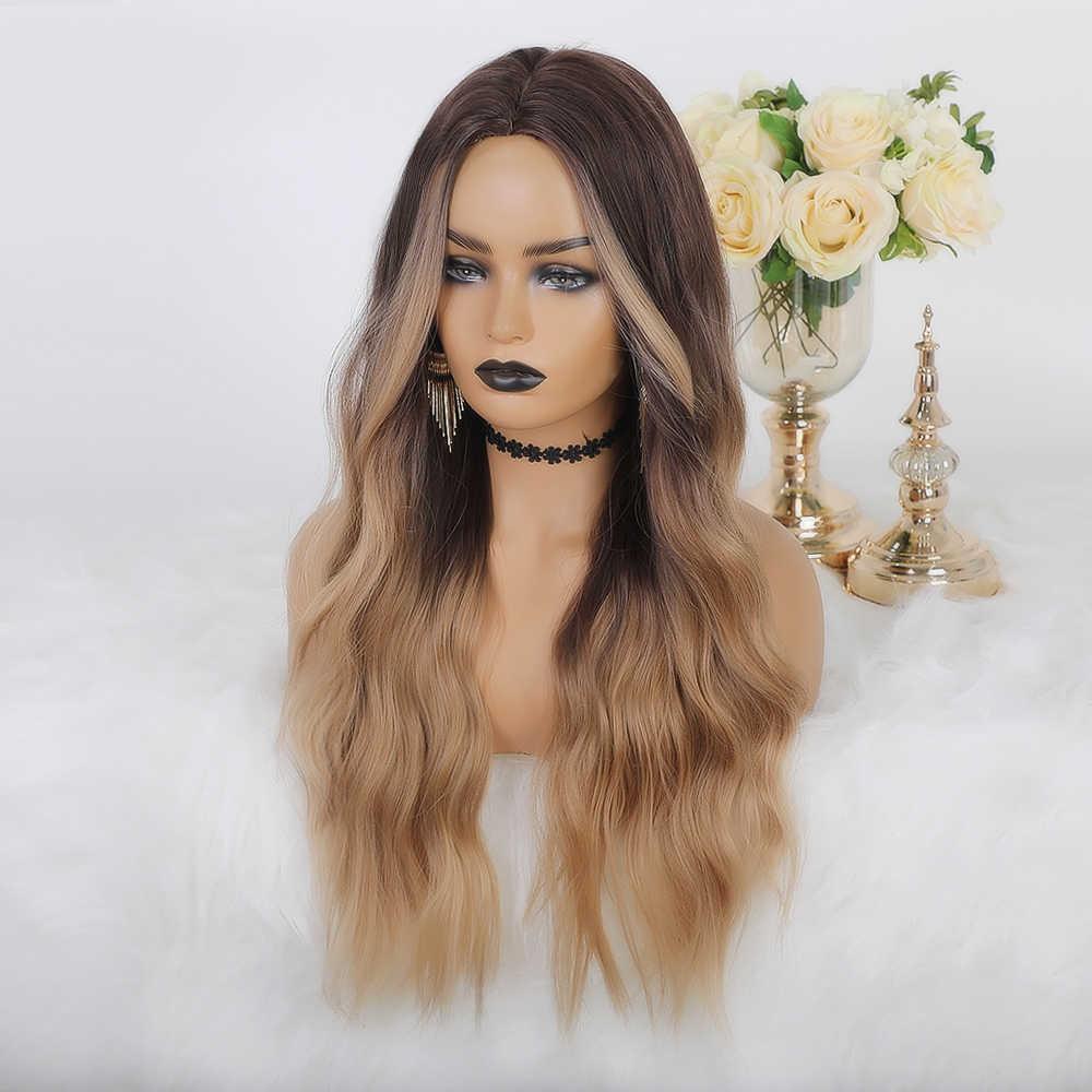 Perruque synthétique longue ondulée naturelle licorne ombrée brune à Blonde avec raie au milieu, extension en Fiber résistante à la chaleur pour femmes