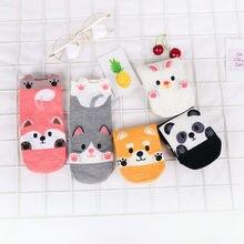 5 pares primavera outono moda feminina meias de algodão dos desenhos animados panda raposa coelho cão harajuku kawaii bonito meninas casuais feliz engraçado meias
