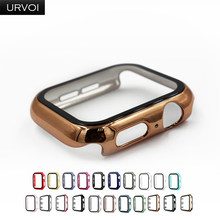 URVOI Full cover for Apple Watch series 6 SE 5 4 3 2 case matte Plastic bumper with tempered glass for iWatch Pine Green band