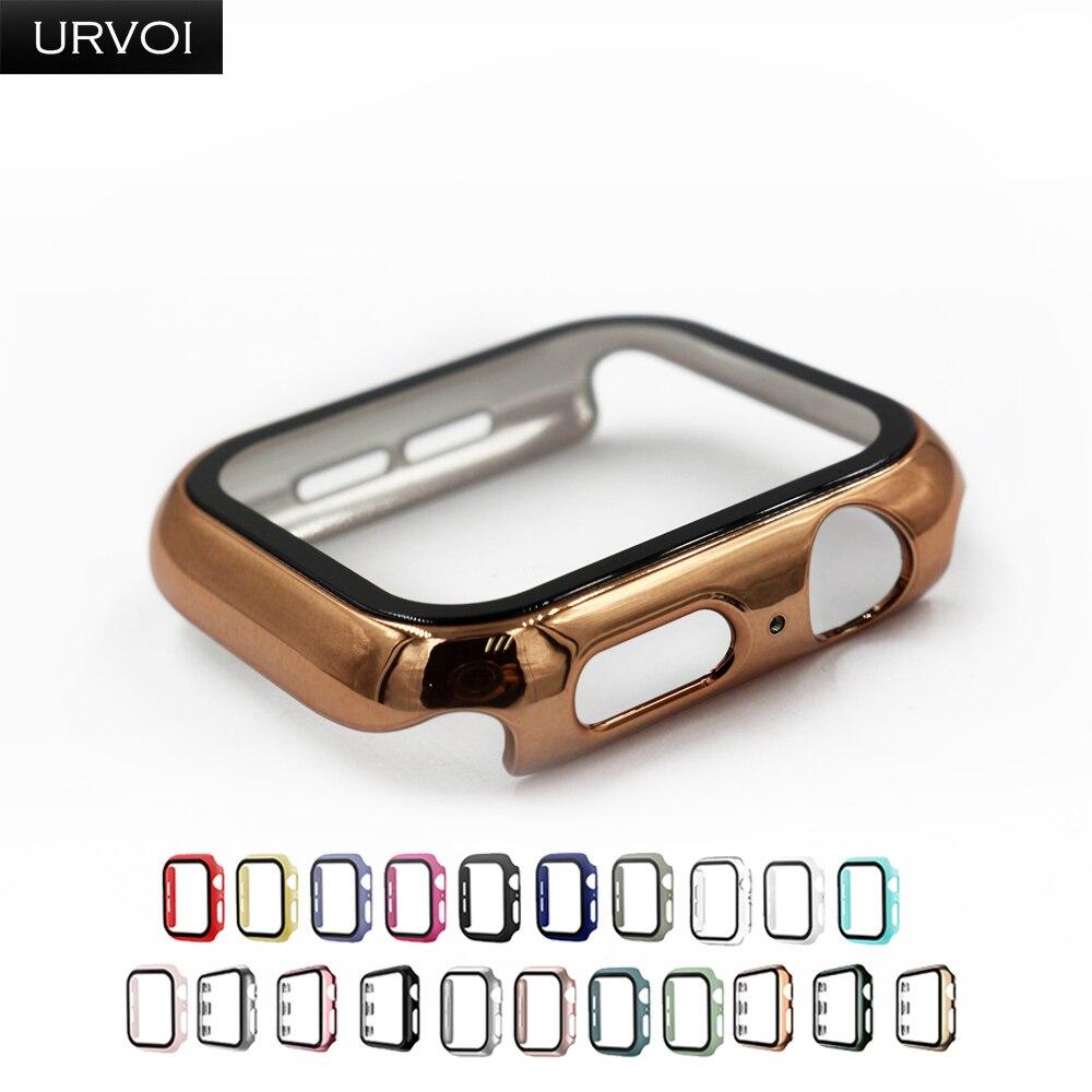 Urvoi Volledige Cover Voor Apple Horloge Serie 6 Se 5 4 3 2 Case Matte Plastic Bumper Met Gehard Glas voor Iwatch Grenen Groene Band