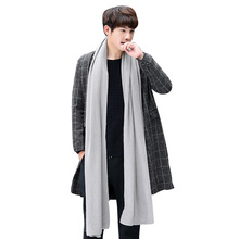 Fall Winter Long Solid Color Men's Scarf Faux Cashmere Knit