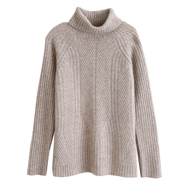 cashmere sweater women high-neck thick short merino wool sweater loose solid color knitted bottoming shirt 1