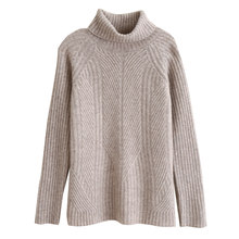 Suéter de cachemira de cuello alto para mujer, suéter grueso de lana merina corta, camisa suelta de color sólido bajo de punto