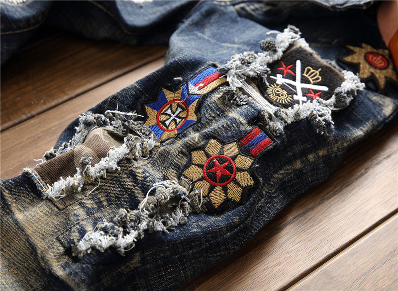2019 AUTUMN Winter Men's Patchwork Ripped Embroidered Stretch Jeans Trendy Holes Straight Denim Trouers 59