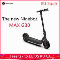 Estoque da ue o mais recente original ninebot max g30 inteligente scooter elétrico kickscooter 10 polegada dobrável duplo freio skate com app