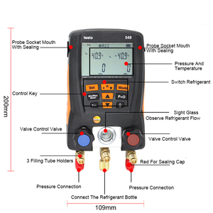 Image 3 - Manifold Digital Mastercool Testo 549 Digital Manifold HVAC Gauge System Kit R410a R410 Refrigeration And Air Conditioning Tools
