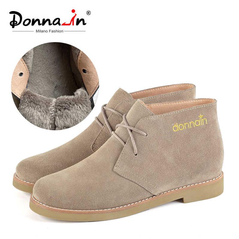 Donna-แท้รองเท้าหนังนิ่มผู้หญิงฤดูหนาวสั้นรองเท้าหนังแบนหญิงสบายๆสบายๆรองเท้าส้นสูง Lace UP