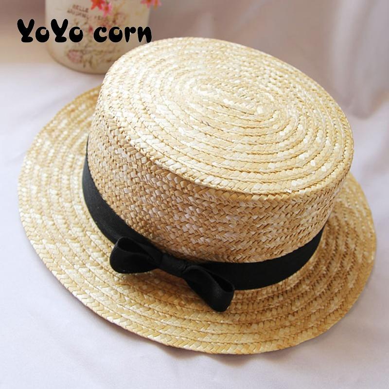 YOYOCORN Outdoor Beach Summer Caps Chapeu Feminino Bow Handmade Weave  Sun Hats For Women Black Ribbon Up Large Brim Straw HatMens Sun Hats   -