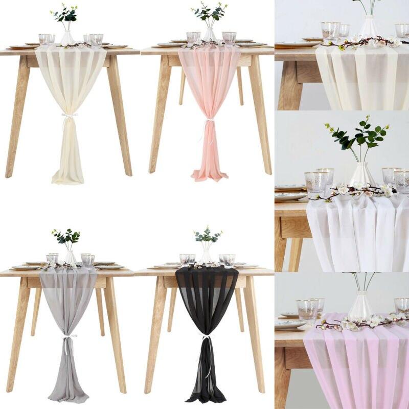 Custom Made Wedding Very Popular Very Light Champagne Birthday Party Elegant Wedding Ivory Chiffon Table Runner