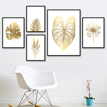 Golden Monstera Palm Leaf Wheat Flower Wall Art Canvas Painting Nordic Posters And Prints Pictures For Living Room Decor