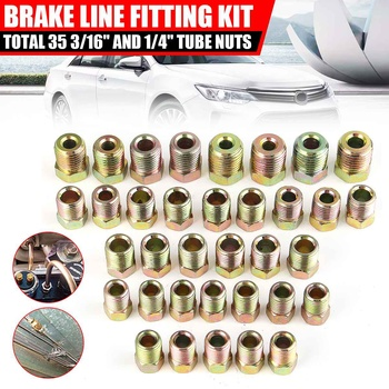 """35PCS Car Brake Line Tubing Tube Fitting Kit Nuts Iron Plating Zinc For Inverted Flare 3/16'' OD And 1/4"""" OD"""
