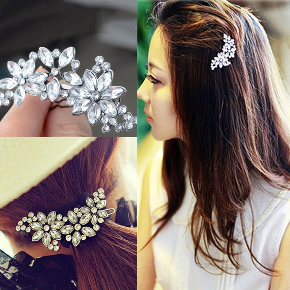 Jewelry Flower Hair-Clip-Comb Crystal Rhinestone Bride's Women's title=
