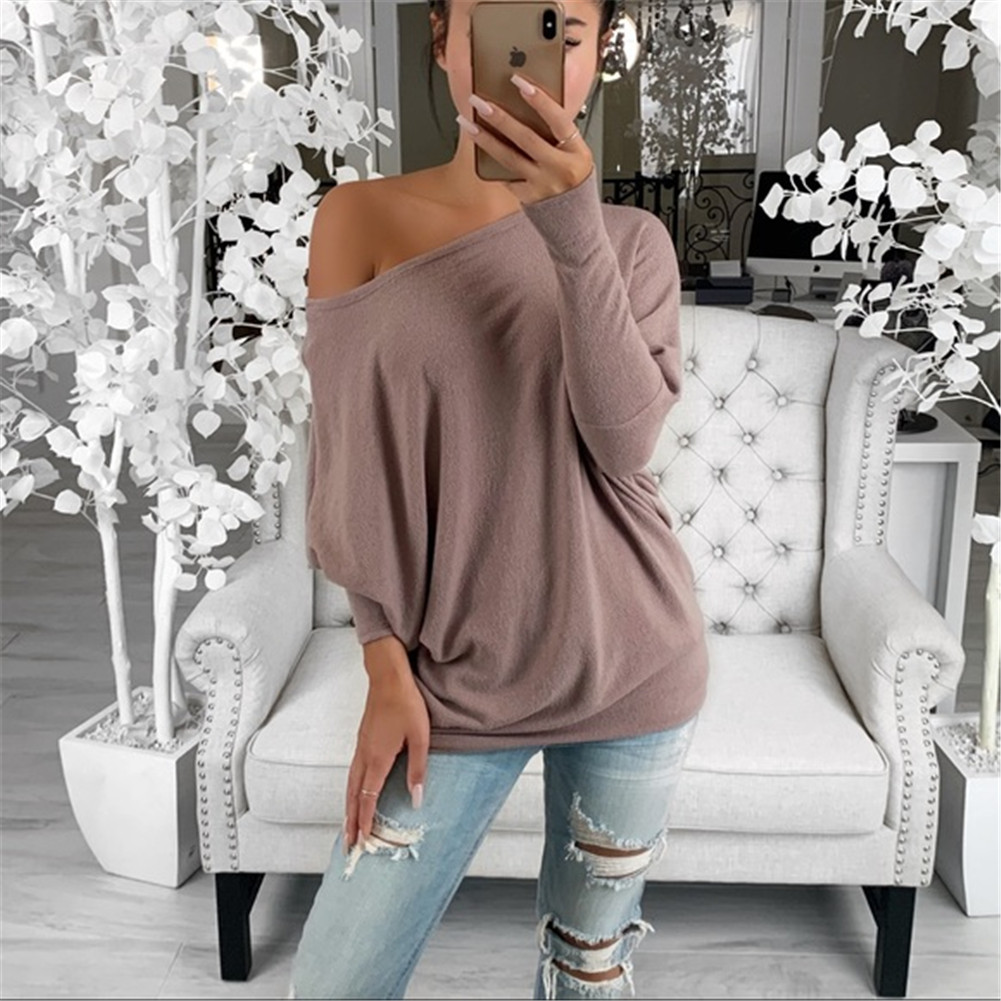 Off Shoulder Top Women Clothes Womens Loose Blouse Long Sleeve Fashion Ladies Shirt Oversize Tops