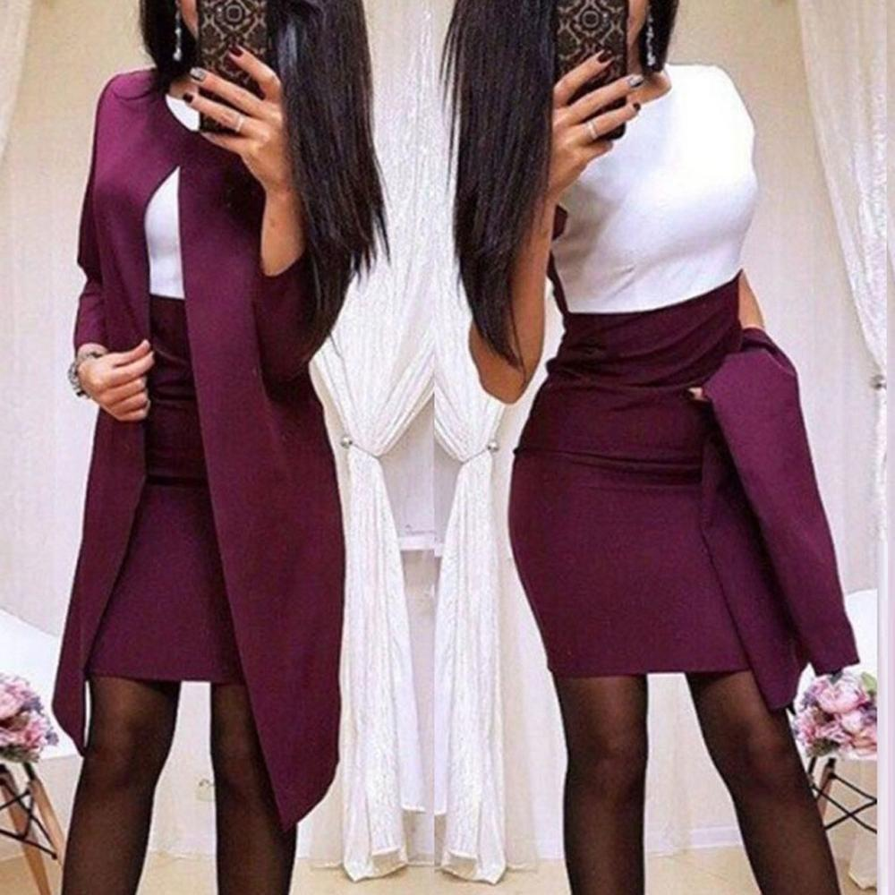 2019 Fashion Women Skirt Suits One Button Notched Striped Blazer Jackets And Slim Mini Skirts Two Pieces Ol Sets Female Outfits
