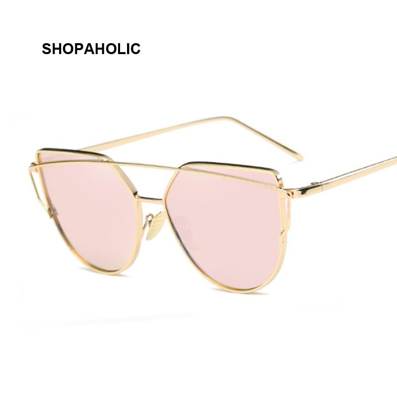 Metal Sunglasses Women Luxury Cat Eye Brand Design Mirror Rose Gold Vintage Cateye Fashion Sun Glasses Female Eyewear