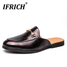 New Trend Men Casual Shoes Summer Half Drag Loafers Men Shoes Blue Red Designer Sneakers For Men Brand Fashion Man Half slippers trend brand men flats sneakers brown black half slippers for men non slip lazy shoes mens half drag loafers flats men shoes