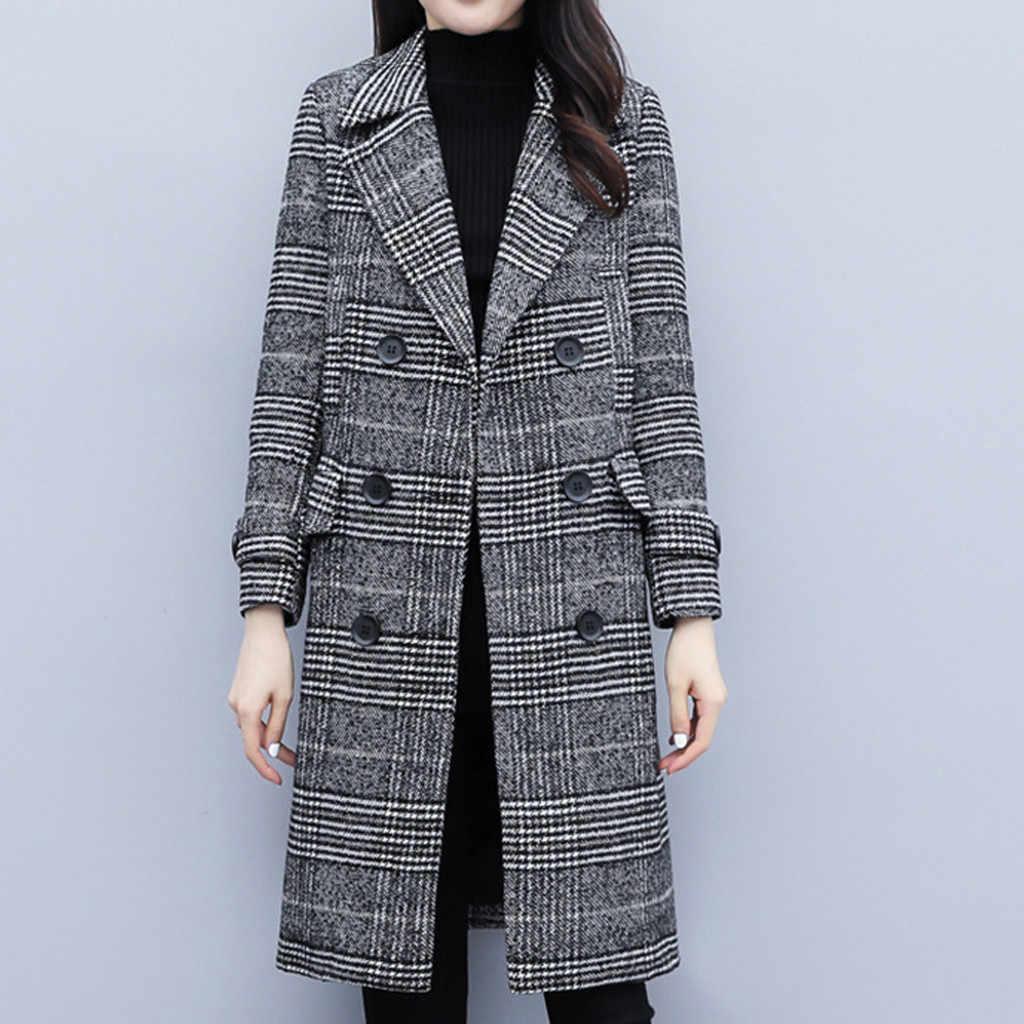 KANCOOLD コートレディース冬ラペルボタンロングトレンチレディースオーバーコート生き抜くファッション新コートとジャケット女性 2019Sep28