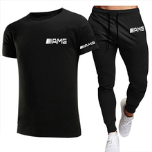 2021New T shirt 2 Pieces Sets Tracksuit AMG Printing Men Short Sleeves Pants Pullover  Sportwear Suit Casual Sports Men Clothes