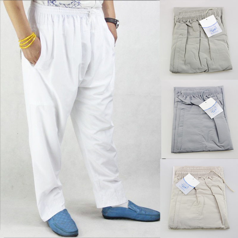 Men Abaya Arab Muslim Islamic Trousers Arabic Ramadan Pants Saudi Arabia Mubarak Pakistan Clothing Wide Leg Loose Cotton Bottoms