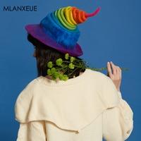 Limited Sale Rainbow Wool Felf Caps Women Children'S Gift Handmade Valentine'S Day Hats Female Fashion Wild Christmas Magic Hat