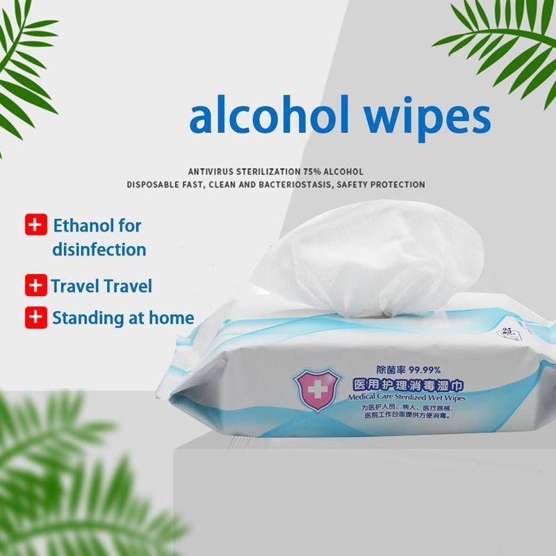 25pcs Disposable Disinfection Antiseptic Pads Alcohol Swabs Wet Wipes Skin Cleaning Care Sterilization First Aid Cleaning Tissue