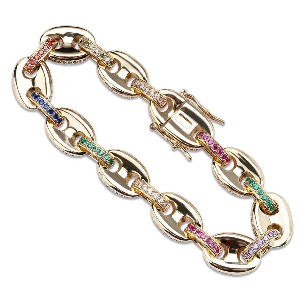 Hommes/femmes mode Hip Hop bijoux Micro Pave coloré cubique zircone solide bouton chaîne arc-en-ciel Bracelet 7 8 pouces - 6