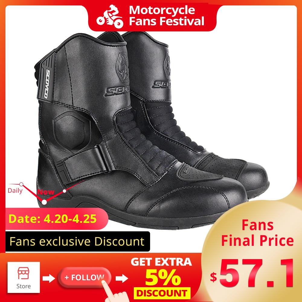SCOYCO Motorrad Stiefel Männer Motorrad Schuhe Winddicht Botas Moto Motocross Stiefel Reitstiefel 35-46 Herbst Winter