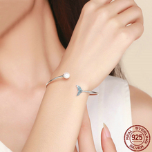 925 sterling silver bracelet Original mermaid tears bangles Pearl fashion DIY Valentines Day present