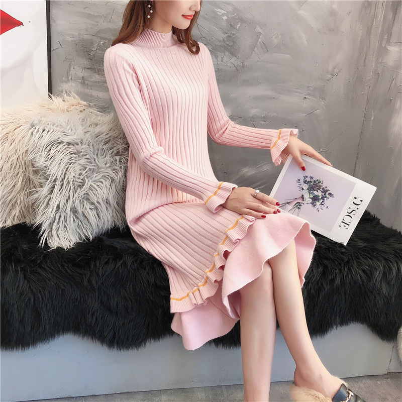 New Sweater Dress Autumn and Winter 2019 Casual Style Pullover Thick Long Slim Basic Knit Sweater Dress Outerwear in Pullovers from Women 39 s Clothing