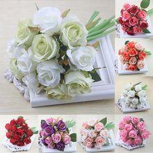 Prático 12 unidades/lotes artificial rosa flores bouquet de casamento branco rosa tailandês royal rosa flores de seda decoração para casa casamento par