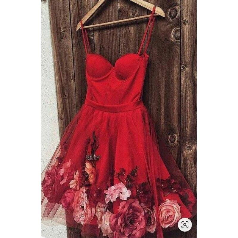 Robe De Soiree 2020 Paris Floral Evening Dresses Midi Length Abendkleider Sweetheart Evening Dress Straps Tulle Custom Made