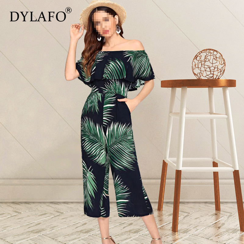 Women Summer Leaf Print Jumpsuit Off Shoulder Wide Leg Streetwear Rompers Sexy Night Club Party Elegant Casual Overalls