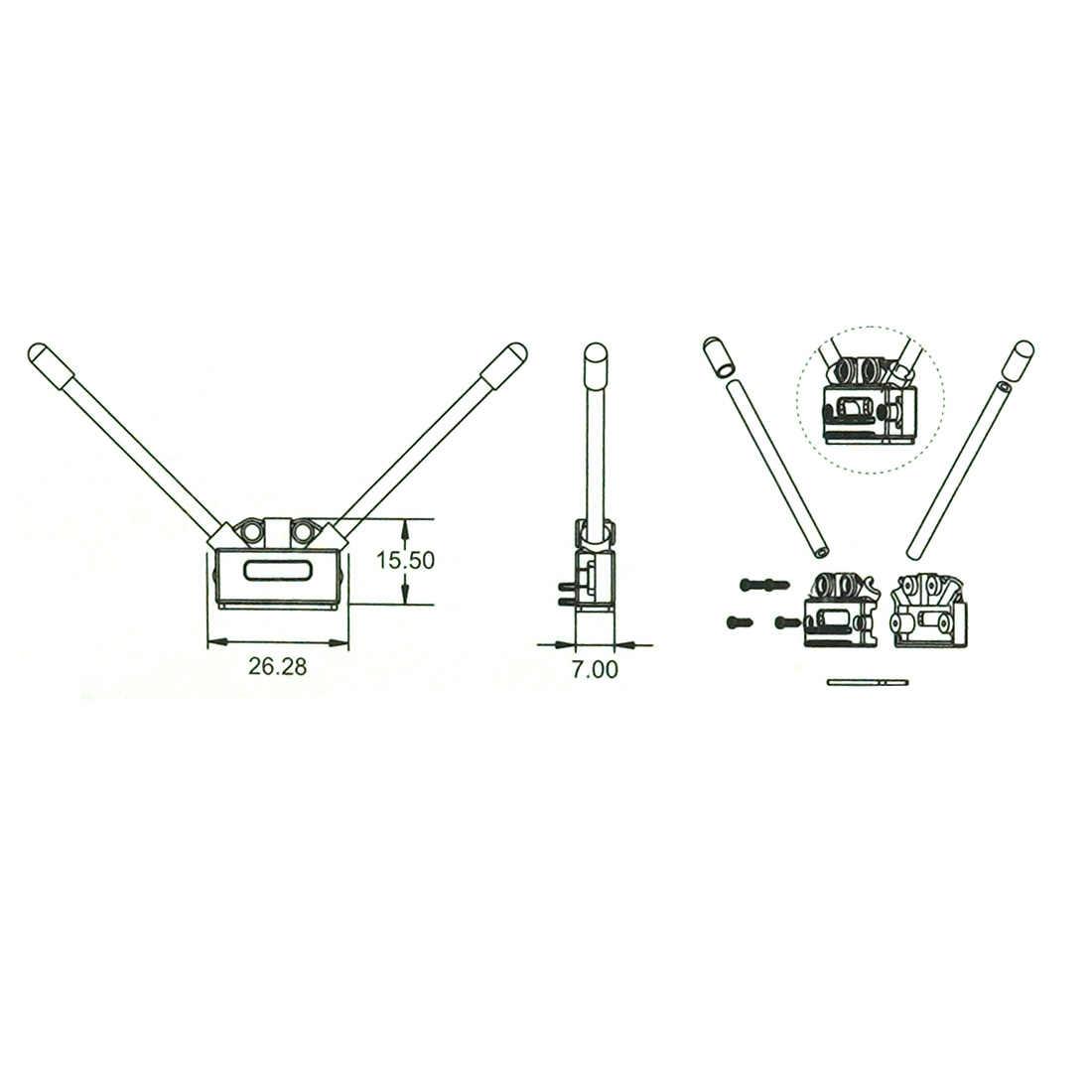 F17308/Q14709 CC3D Atom V Type Ontvanger Antenne Voetstuk Vastmaakzitting Mount Houder Voor Alien Over Rc Multirotor Fpv quadcopter
