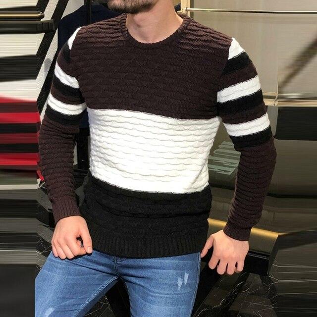 Мужской плотный трикотажный свитер в полоску, с длинным рукавом и круглым вырезом 3