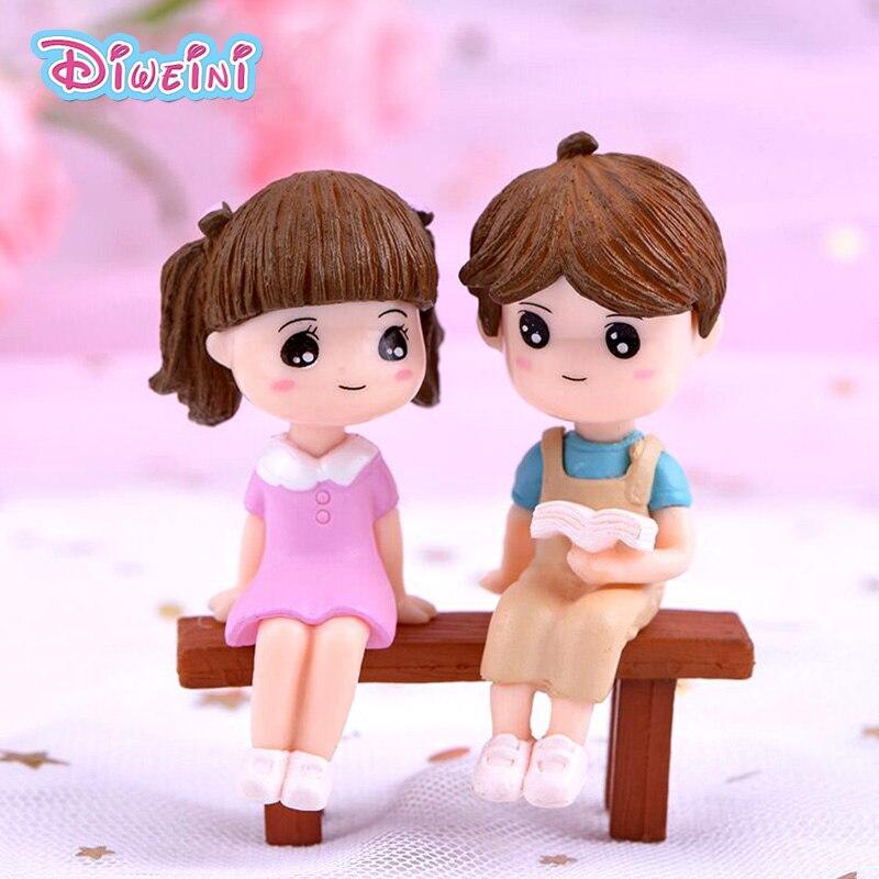3pcs Reading Boy Girl Beach Model Action Figure Miniature Figurine Home Garden Dollhouse Decoration DIY Accessory Toy Gift