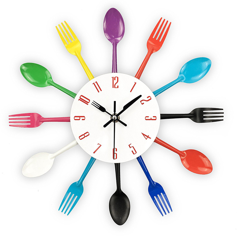 Kitchen Wall Clock, 3D Removable Modern Creative Cutlery Kitchen Spoon Fork Wall Clock Mirror Wall Decal Wall Sticker Room Home