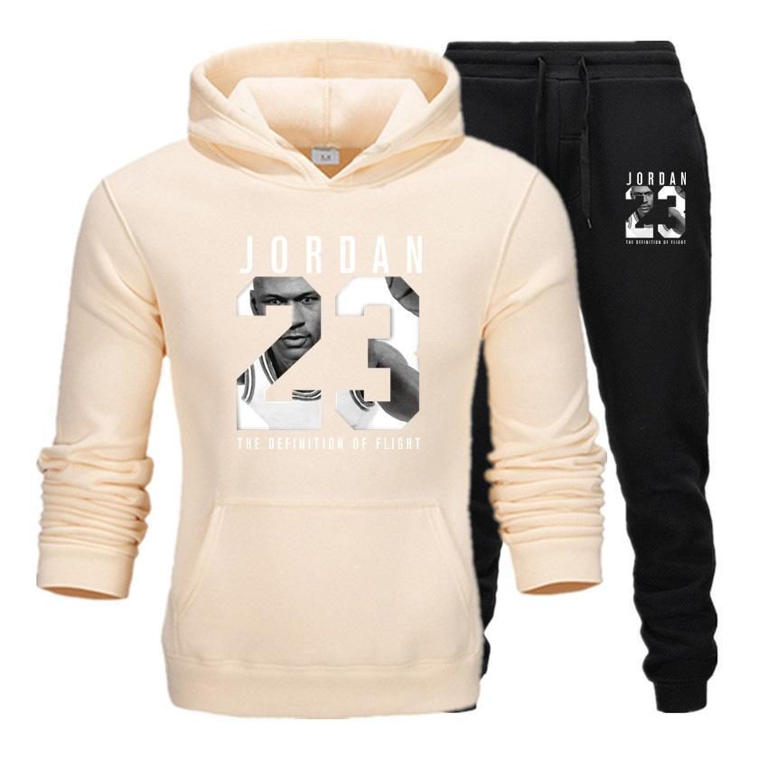 2019 Brand Tracksuit Fashion JORDAN 23 Print Men Sportswear Pullover Two Sets Leisure Fleece hoodies +Pants Sporting Suit Male  (8)