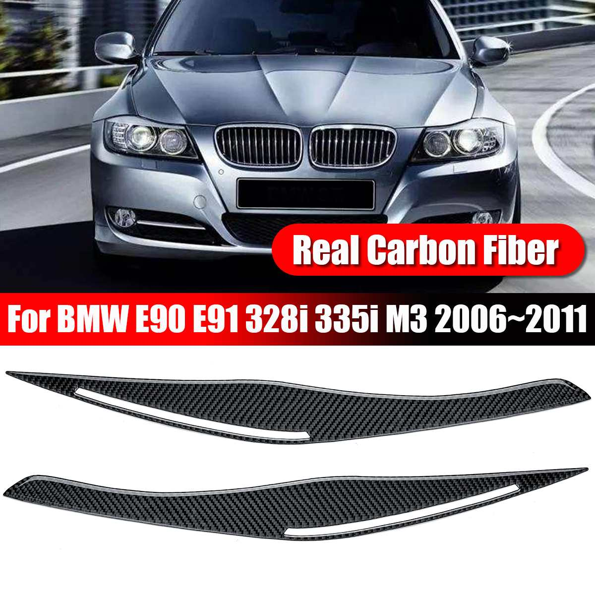2pcs/set Carbon Fiber Headlight Eyelid Eyebrow Cover Trim Stickers for BMW E90 E91 328i 335i M3 2006-2011 Front Eyebrow Cover image