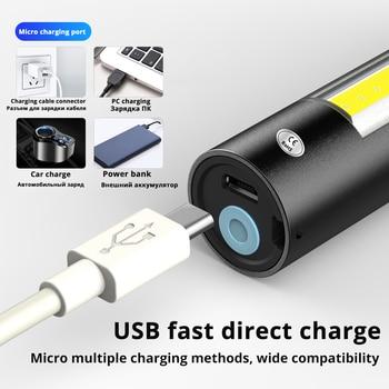 USB Rechargable Mini LED Flashlight 3 Lighting Mode Waterproof Torch  Telescopic Zoom Stylish Portable Suit for Night Lighting 3