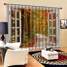 Custom Autumn Scenery Curtains Maple Tree Road Blackout Window Curtain Polyester Fabric Living room Bedroom Drapes Decor