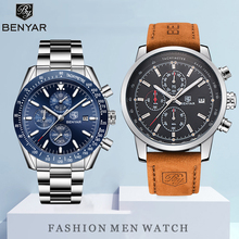 BENYAR Mens Watch Set Quartz Watches Top Brand Luxury Chronograph Waterproof Men Sports Clock Relogio Masculino