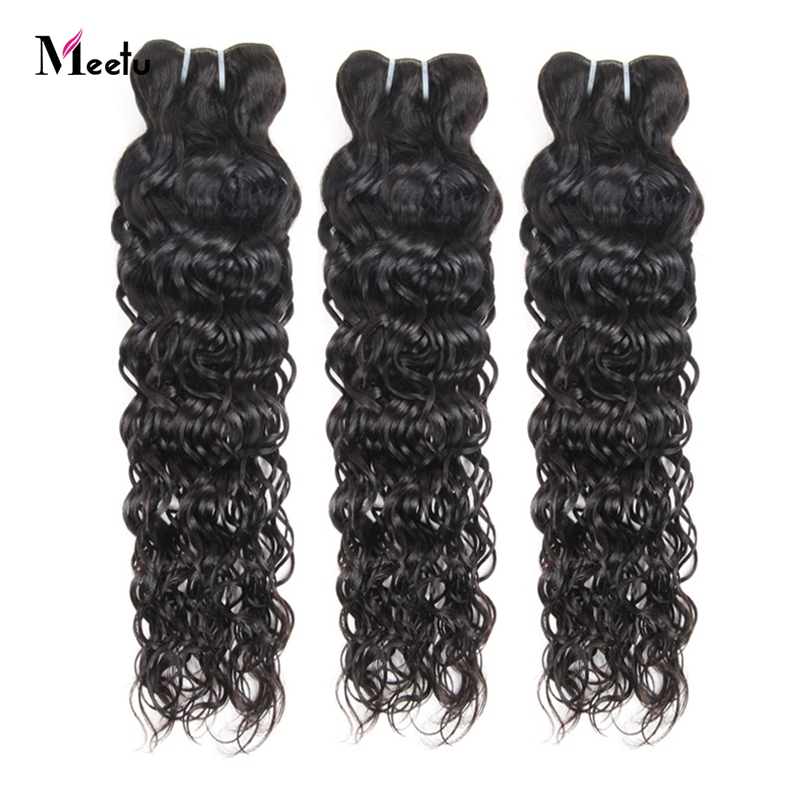 Meetu Indian Water Wave Bundles 100% Human Hair Weave Natural Black Color Non Remy Hair Extensions 3 Bundles Deal Tangle Free