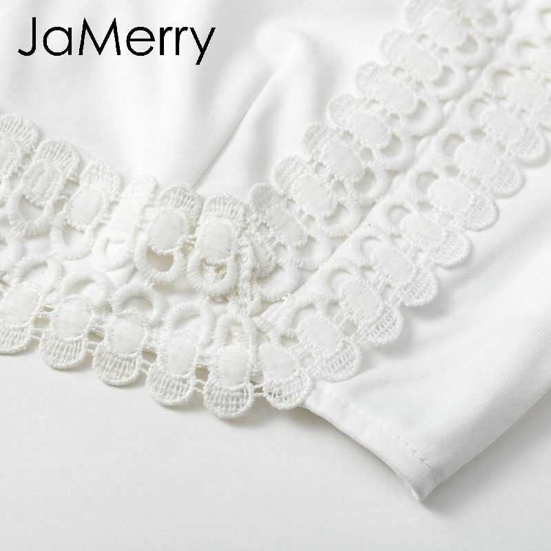 JaMerry Vintage élégante dentelle moulante robe blanc deux pièces ensemble évider automne robe costume hiver sexy fête club mini robes